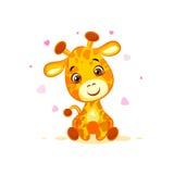 Emoji hello hi in love hearts you are cute character cartoon Giraffe sticker emoticon. Vector Stock Illustration isolated Emoji hello hi in love hearts you are stock illustration