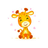 Emoji hello hi in love hearts you are cute character cartoon Giraffe sticker emoticon Royalty Free Stock Images