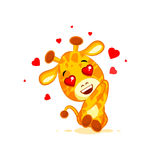 Emoji hello hi in love hearts you are cute character cartoon Giraffe sticker emoticon Royalty Free Stock Image