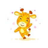 Emoji hello hi waving in love hearts you are cute character cartoon Giraffe sticker emoticon. Vector Stock Illustration isolated Emoji hello hi waving in love vector illustration