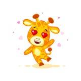 Emoji hello hi waving in love hearts you are cute character cartoon Giraffe sticker emoticon. Vector Stock Illustration isolated Emoji hello hi waving in love stock illustration