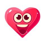 Emoji heureux et enthousiaste, icône d'isolement par expression du visage émotive rose de coeur avec la bande dessinée d'émoticôn Photo libre de droits