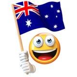 Emoji holding Australian flag, emoticon waving national flag of Australia 3d rendering. Isolated illustration on white background Royalty Free Stock Images