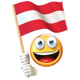 Emoji holding Austrian flag, emoticon waving national flag of Austria 3d rendering. Isolated illustration on white background Stock Photography