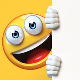 Emoji holding blank board isolated on white background, emoticon advertiser 3d rendering. Illustration Stock Photography