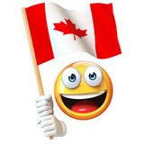 Emoji holding Canadian flag, emoticon waving national flag of Canada 3d rendering