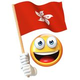 Emoji holding Hong Kong flag, emoticon waving national flag of Hong Kong 3d rendering Royalty Free Stock Photo