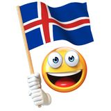 Emoji holding Icelandic flag, emoticon waving national flag of Iceland 3d rendering Stock Photo