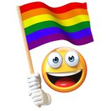 Emoji holding LGBT flag, emoticon waving rainbow color flag 3d rendering Royalty Free Stock Photo