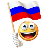 Emoji holding Russian flag, emoticon waving national flag of Russian Federation 3d rendering. Isolated illustration on white background Stock Photos