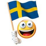 Emoji holding Swedish flag, emoticon waving national flag of Sweden 3d rendering. Isolated illustration on white background Stock Image