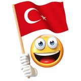 Emoji holding Turkish flag, emoticon waving national flag of Turkey 3d rendering Royalty Free Stock Images