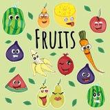 Emoji i form av frukt, royaltyfri illustrationer