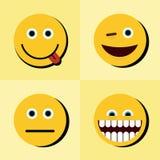 Emoji, icônes d'émoticônes sur le fond jaune avec l'ombre noire illustration libre de droits