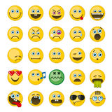 Emoji, icônes de vecteur d'émoticônes réglées Photo libre de droits