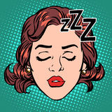 Emoji icon woman face sleep Stock Image