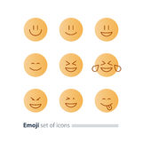 Emoji icons, emoticon symbols, face expression signs, minimalistic design Royalty Free Stock Image