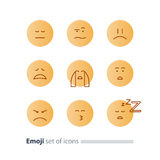 Emoji icons, emoticon symbols, face expression signs, minimalistic design Royalty Free Stock Images
