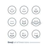 Emoji icons, emoticon symbols, face expression signs, minimalistic design Stock Photo