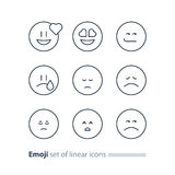Emoji icons, emoticon symbols, face expression signs, minimalistic design Stock Photos