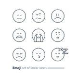 Emoji icons, emoticon symbols, face expression signs, minimalistic design Royalty Free Stock Photos