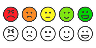 Emoji icons for rate of satisfaction level Stock Image