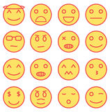 Emoji icons. Set of emoji/smileys icons with fill yellow color and red outline Stock Photo