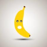 Emoji jaune de banane avec le regard étonné ou choqué Émoticône pour Photos stock
