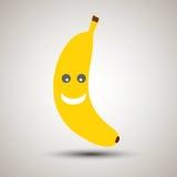 Emoji jaune de banane avec le sourire heureux et dans la bonne humeur Image libre de droits