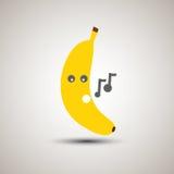 Emoji jaune de banane chantant une chanson Photos stock