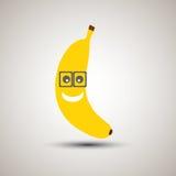 Emoji jaune de banane dans des lunettes Émoticône pour des apps Interdiction jaune Image libre de droits