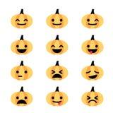 Emoji-Kürbis-Ikonensatz Stockfotos