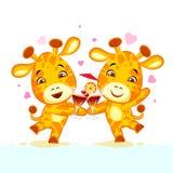 Emoji ließ Getränkparteicharakterkarikaturfreunde Giraffen-Aufkleber Emoticon haben stock abbildung
