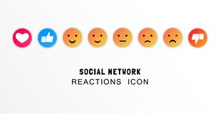 Emoji, like and thumb up icons. Customer satisfaction feedback concept. Flat vector illustration. Emoji, like and thumb up icons. Customer satisfaction feedback stock illustration
