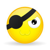 Emoji lindo del pirata Emoción del derretimiento Emoticon dulce Estilo de la historieta Icono de la sonrisa del ejemplo del vecto Foto de archivo libre de regalías