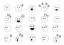 Emoji linear das caras Fotografia de Stock