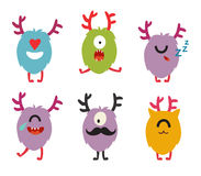 Emoji monsters. Cute cyclops vector set. Cartoon  funny emoticons. Monsters stickers, flat cartoon style. Isolated on white background Stock Images