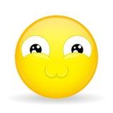 Emoji muy lindo Emoción del derretimiento Emoticon dulce Estilo de la historieta Icono de la sonrisa del ejemplo del vector Fotos de archivo