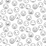 Emoji naadloos patroon van de overzichts rond glimlach Lineaire de stijlvector van het Emoticonpictogram Royalty-vrije Stock Fotografie