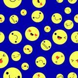 Emoji no fundo e no teste padrão amarelos da bola Ilustração do vetor Imagens de Stock