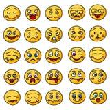 Emoji oder gezeichnete Ikonen der Emoticons Hand vektor abbildung