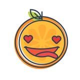 Emoji - orange dans l'amour avec le sourire heureux Vecteur d'isolement Photos stock