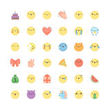 Emoji outline icon vector set. Cute emoticons and symbols. Stock Images