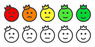 Emoji prince icons for rate of satisfaction level. Emoji icons - prince with crown , emoticons for rate of satisfaction level. Five grade smileys for using in Royalty Free Stock Image
