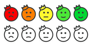Emoji prince icons for rate of satisfaction level Royalty Free Stock Photos