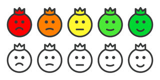 Emoji prince icons for rate of satisfaction level. Emoji prince icons, emoticons for rate of satisfaction level. Five grade smileys for using in surveys Royalty Free Stock Photography