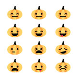 Emoji pumpkin icon set Stock Photos