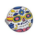 Emoji que sonríe con las gafas de sol Día de los muertos Dia De Los Muertos Víspera de Todos los Santos Ilustración del vector Fotos de archivo libres de regalías