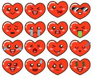 Emoji red hearts. Cute emoticons isolated on white background. Vector illustration isolated on white background stock illustration