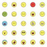 Emoji a rempli icônes d'ensemble réglées illustration de vecteur